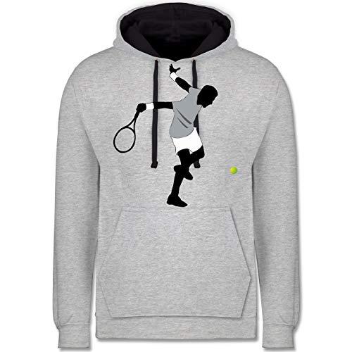 Shirtracer Tennis - Tennis Squash Spieler - XL - Grau meliert/Navy Blau - Silhouette - JH003 - Hoodie zweifarbig und Kapuzenpullover für Herren und Damen
