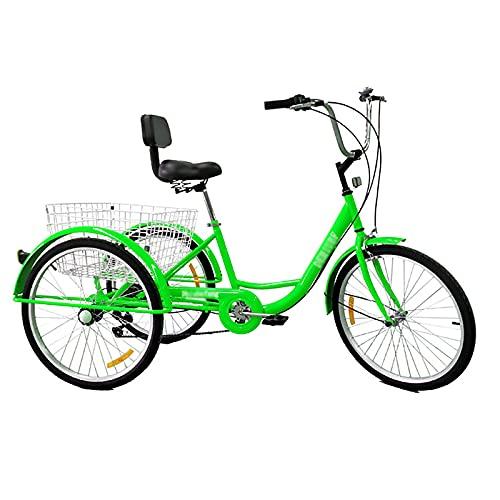 YINAIER 24 Zoll Trike Für Erwachsene, Trike-Fahrrad 6-Gang-Getriebe, 3-Rad-Fahrräder Cruise Trike Mit Einkaufskorb Für Senioren Damen Herren, Mehrere Farben(Color:Grün)