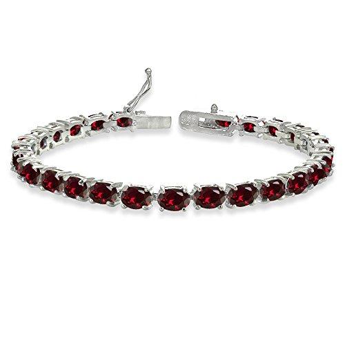 Sterling Silver 6X4mm Synthetic Ruby Oval-cut Tennis Bracelet