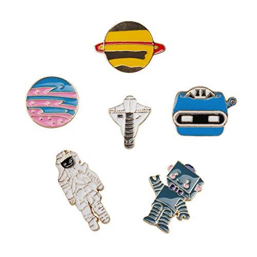 Brosche Anstecknadel Anstecker Pins Cartoon Metall Brosche Set Planet Raum und Dinosaurier Serie für Kleidung Taschen Rucksäcke 11 Stücke