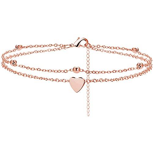 Tobillera ajustable de aleación para el tobillo o la playa, pulsera de moda, pulsera de corazón, accesorio ajustable para mujeres y niñas