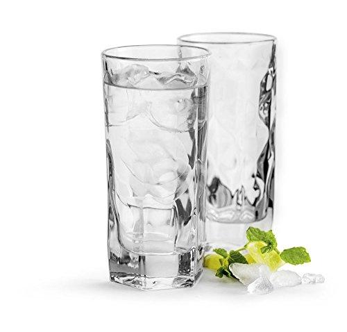 Sagaform 5017608 Biergläser, dekoriert, transparent, 4 Stück Hohe Kugelgläser