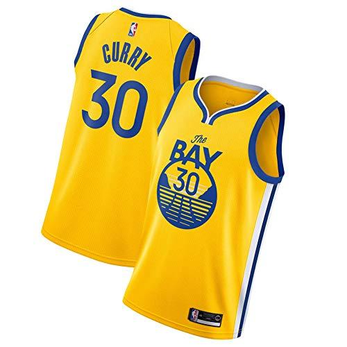 FDWD Golden State Warriors Stephen Curry No.30 Basketball-Trikot Männlich Fan Weste Jugend Ärmelloses besticktes Shirt Atmungsaktives Top Outdoor Sport Fitness Gelb 1-XL