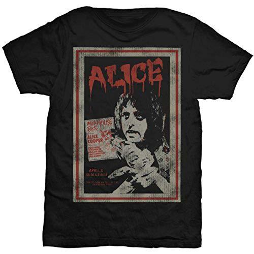 Alice Cooper Herren Vintage Poster T-Shirt, Schwarz (Black), (Herstellergröße: Medium)