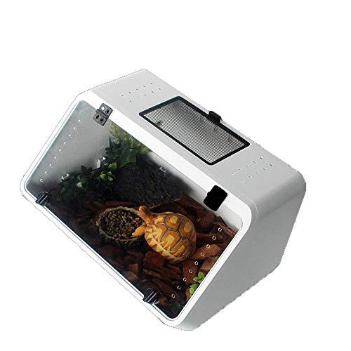 JBLDY Land Und Wasser L Amphibien Abgeschrägte Box Schildkröte Tank Brasilianische Schildkröte Schildkröte Hamster Käfig Skorpion Eidechse Spinne Reptil Haustier Terrarium,Weiß,Einheitsgröße