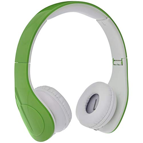 AmazonBasics Volume Limited Wired Over-Ear Headphones for Kids with Two Ports for Sharing, Green