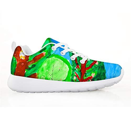 Lolyze Zapatillas de deporte para niños, zapatillas de interior, zapatillas para correr, para exteriores, unisex, pintura abstracta., color Verde, talla 32 EU