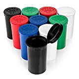 Airtight 19 Dram Pop Top Bottles - Storage Jar Containers with Hinged Lids - Multi Use For Herbs, Teas, Pills, Candy, And More - 10 Pack