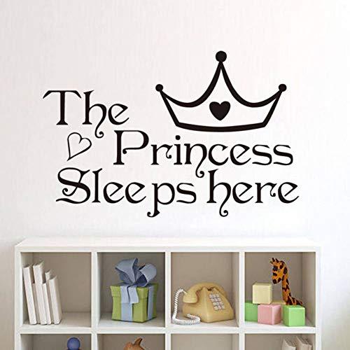 GUDOJK Muursticker De prinses slaapt hier vinyl muurstickers voor kinderen kamer muurstickers home decoratie muur kunst slaapkamer muur papier
