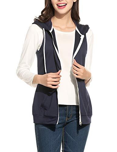 Parabler Damen Weste Ärmellos Jacke mit Kapuze Taschen Reverskragen Freizeit Sport Hoodie Dunkelblau Dunkelblau EU 42(Herstellergröße:XL)