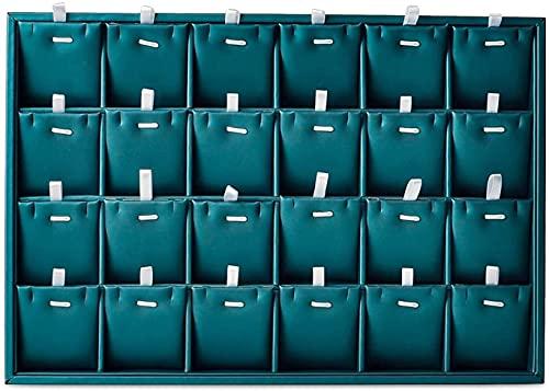 Bigiotteria da viaggio Cassa Gioielli scatola 24 griglia PU.Organizzatore del display dei gioielli in pelle con divisori rimovibili,scatola di gioielli per le donne (verde scuro,24 griglie con carte r