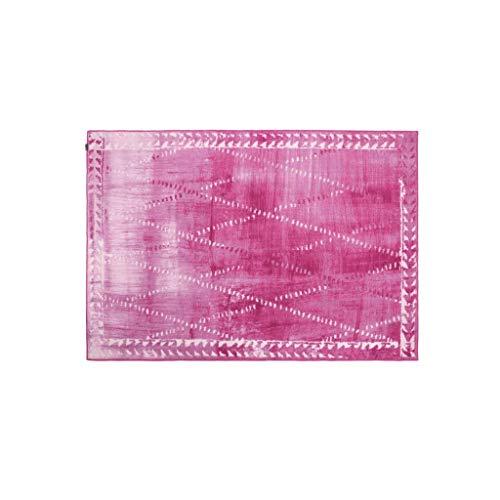 Tapis JXLBB Polyester 1.4x2m Diamant Rose Poids 3.5Kg Épaisseur 10mm Lavable Géométrique Salon Chambre Chevet Vestiaire Coiffeuse