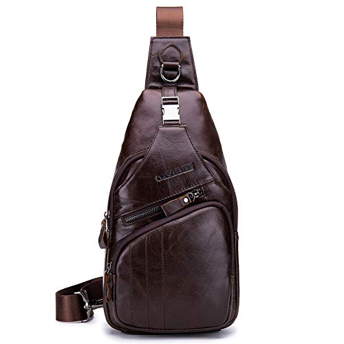 CMXSEVENDAY NOB105 Mochila de Pecho de Hombre en Piel Genuina Bolso de Hombro Cuero, Apto para 7.9'' iPad Mini, 18 x 33 cm, Marrón