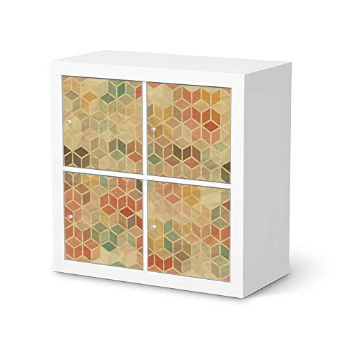 creatisto Möbel-Folie passend für IKEA Kallax Regal 4 Türen I Möbelfolie - Möbel-Tattoo Sticker Aufkleber I Deko Ideen Wohnung für Esszimmer und Wohnzimmer - Design: 3D Retro