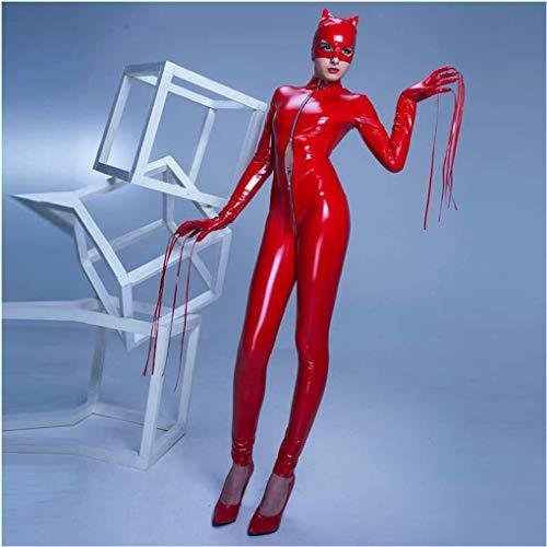 KILLM Sexy Wäsche des Hellen Halloween-Stadiums-Kostüms der PVC-Stadiums-Kostüm-reizvollen Katzenfrauen,Rot,M
