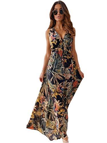 Moceal V Ausschnitt Kleid Damen Sommerkleider Böhmisch Kleid Halfter Ärmellos Blumenkleid Strandkleid Lang Kleider MaxiKleid Cocktailkleid...