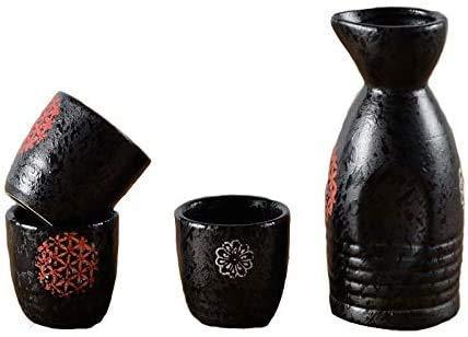 ZYYH Set di 5 Pezzi di Sake Giapponese, 9 Once di Smalto Nero con Set di Tazze di Sake in Ceramica con Motivo Rosso, per Freddo/Caldo/Shochu/tè, miglior Regalo per Famiglia e Amici Set di s