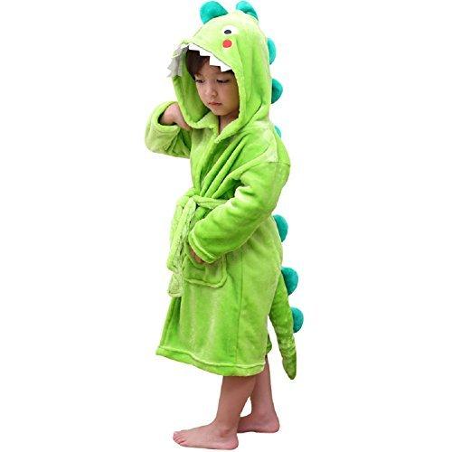 LOLANTA Kinder Fleece Bademantel Dinosaurier Plüsch Kapuzenbademantel, Grüner Dinosaurier, 3-5 Jahre