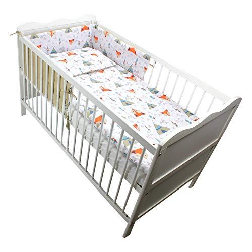 TupTam Baby Bettwäsche mit Nestchen Gemustert 3-Teilig, Farbe: Füchse mit Zelten, Anzahl der Teile:: 3 TLG. Set