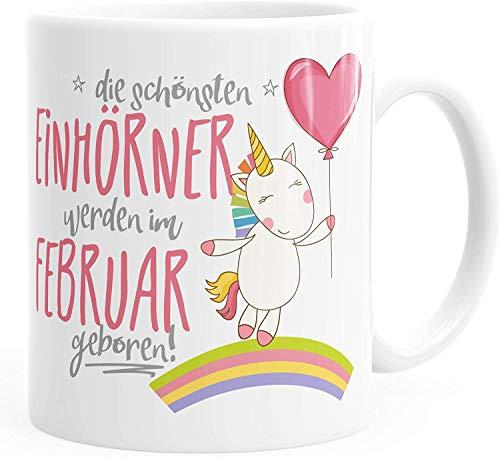 "Taza de café blanca de regalo de cerámica, con frases divertidas, texto en alemán \""Die Schönsten Einhörner\"", XXX Geboren, febrero, talla única"