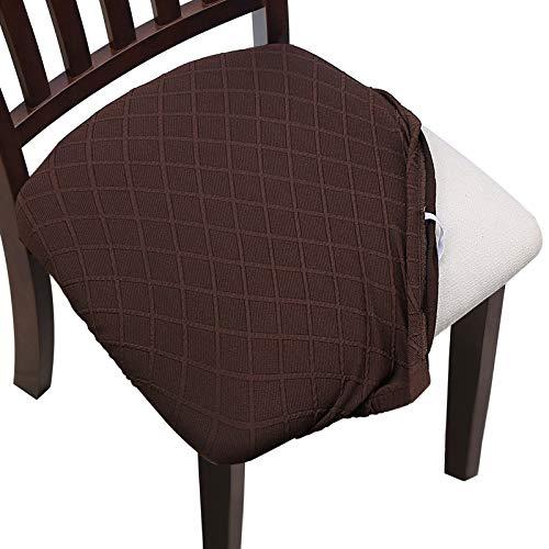 YISUN Esszimmerstuhl-Sitzbezüge, Keine Rückenlehne, Esszimmerstuhl-Sitzschutz, abnehmbar, waschbar, für Bürohochstühle 4/6 Stück (4, Dunkelbraun)