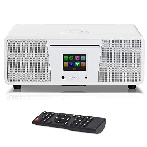LEMEGA M4 + alles-in-één muzieksysteem, DAB / DAB + / FM met cd-speler, Bluetooth, hoofdtelefoonuitgang, USB MP3-weergave, AUX, klok, alarmen, voorinstellingen, kleurenscherm, afstandsbediening en app-bediening - Zacht wit satijn