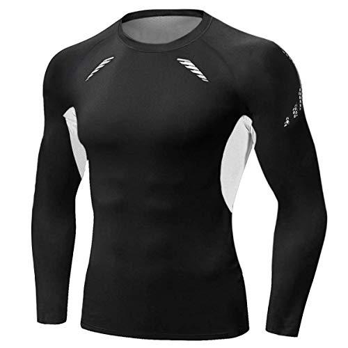 Sykooria Camiseta de Compresión Deportiva para Hombre Ropa Deportiva de Manga Larga de Transpirable y Secado Rápido Correr Gym Entrenamiento Ciclismo