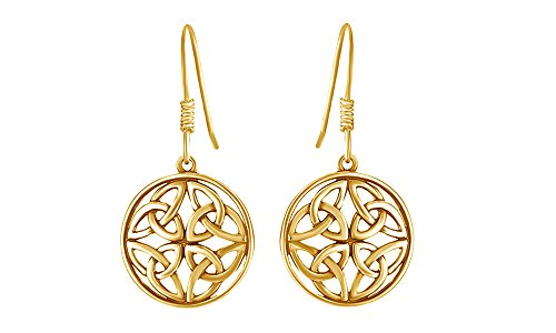 Celtic Knot Round Drop Earrings In 14K Yellow Gold Over Sterling Silver