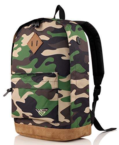 936Plus College Backpack for Men & Teen Boys: Water Resistant School Bookbag with 12 Pockets, Jungle Camo