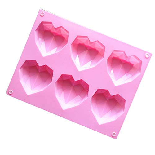 Hasiky 3D Love Heart Diamond Shaped Silicone DIY Mold Cake Chocolate Soap Pudding Mould, Handmade Baking Tools Tray