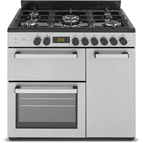 New World 90cm Triple Cavity Dual Fuel Range Cooker - Stainless Steel