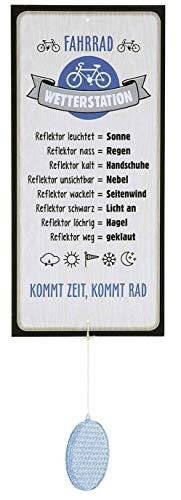 G.H. Wetterstein, Wetterstation als Aluschild, Modell Fahrrad mit Reflektor, Material Metall, Maße Schild 30 x 14 cm