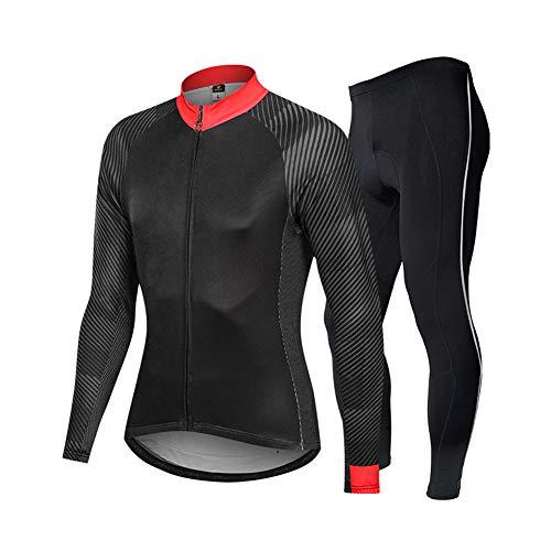 Conjunto de Maillot de Ciclismo para Hombre, Trajes de Ciclismo de Manga Larga + pantalón Largo 3D, compresión Deportiva de Capa Base de Secado rápido, Conjunto de Ropa,E,3XL