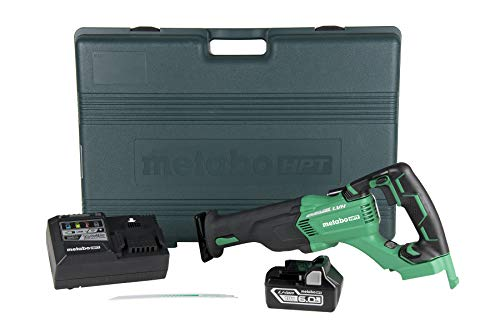 Metabo HPT 18V Cordless Reciprocating Saw Kit | Includes 6.0 Ah Li-Ion Battery | 3-Mode Selector w/Auto Mode | Low Vibration Handle | Large Rafter Hook | Lifetime Tool Warranty (CR18DBL)