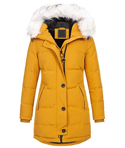 Rock Creek Damen Winter Jacke Mantel Kunstfellkragen Steppmantel Winterjacke Damenjacke Outdoorjacke Kapuze Fellkragen gesteppt D-429 Maisgelb 3XL