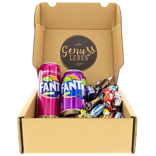 Genussleben Box mit 1x Fanta Maracuja 330ml, 1x Fanta schwarze Johannisbeere 330ml und 744g Celebrations Mix, Großpackung Schokolade