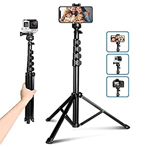 """62"""" Phone Tripod, Aureday Portable Cell Phone Tripod Stand with Bluetooth Remote and Universal Phone Holder, Perfect for Selfies/Video Recording/Vlogging/Live Streaming"""