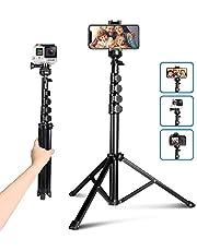 UBeesize - Kit di accessori per treppiede, fotocamera e supporto per telefono cellulare con telecomando Bluetooth e supporto universale per testa per selfie / video / vlogging/streaming live