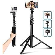 """62"""" Selfie Trépied, UBeesize Kamera & Handy-Stativ-Ständer mit Bluetooth-Fernbedienung und Universal-Stativkopf-Halterung, perfekt für Selfies/Videoaufnahmen/Vlogging/Live-Streaming"""