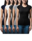 Sexy Basics Women's 5 Pack Casual & Active Basic Cotton Stretch Color T Shirts (5 Pack- Black/White/Grey/Navy/Charcoal, Large)
