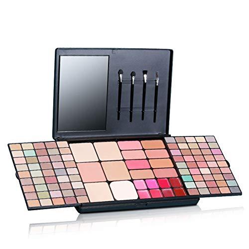 112 Jeux de Maquillage Couleur Matte Shimmer Fard à paupières Lipgloss Fard à Joues Fondation Facile à Porter Make Up Set Kit avec Miroir Brosse