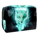 Bolsa de Maquillaje Bolsas de Aseo Organizador de cosméticos Bolsa con Cremallera para Mujer Lobo Verde Hielo