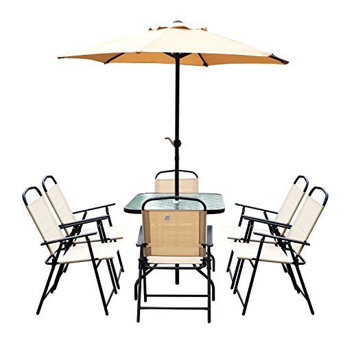 Outsunny 8 Pieces Dining Set Pation Furniture Garden Foldable Parasol with 6 Chairs 1 Table Beige