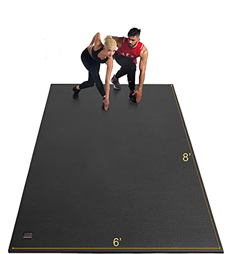 GXMMAT Extra Large Exercise Mat 6'x8'x7mm for Home Gym Flooring, Ultra Durable Cardio Workout Mats Non-Slip,Non-Toxic, Ideal for MMA, Plyo, Jump, All-Purpose Fitness