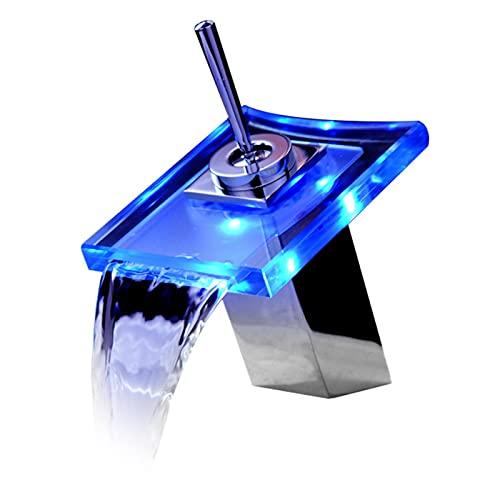 XSBBY Grifo Lavabo Cascada, Grifo De Lavabo Cascada con LED Grifo,de Cristal con 3 Cambios De Color, para Agua Caliente Y Fría Disponible,Acabado Cromado, Estilo Moderno