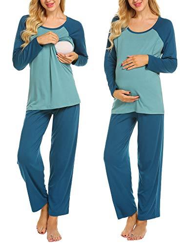 Ekouaer Womens Maternity Sleepwear Set Clothes and Nursing Breastfeeding Pajamas (Peacock Blue S)