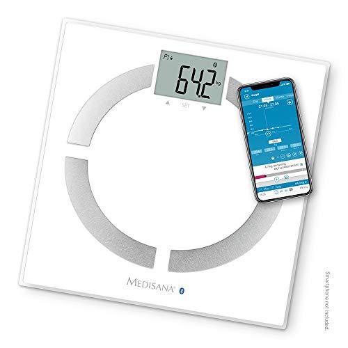 Medisana BS 444 Connect Báscula Analítica Digital de 180 kg, Báscula Personal para Medir la Grasa Corporal, el Agua Corporal, la Masa Muscular, el Peso de los Huesos, Báscula de Grasa Corporal con App