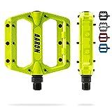 AARON Rock - Pedales de MTB con rodamientos sellados de Calidad - Superficie Antideslizante con Pins Intercambiables - Amarillo