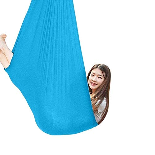 ZHJIUXING SF Indoor Therapy Swing Adjustable Aerial Yoga Hammock Sensory Hammock For Sensory Integration Up To 440lbs Ideal,Hanging Chair Stand, Lake Blue, 100x280cm-39x110in