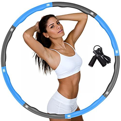 DUTISON Hula Reifen Hoop für Erwachsene, Fitness Reifen Hoop zur Gewichtsreduktion Größe Einstellbar Breit 48–95 cm beschwerter Hullahub Reifen mit Springseil